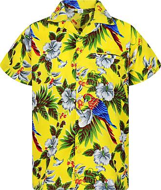 V.H.O. Funky Hawaiian Shirt, Shortsleeve, CherryParrot, Yellow, XXL