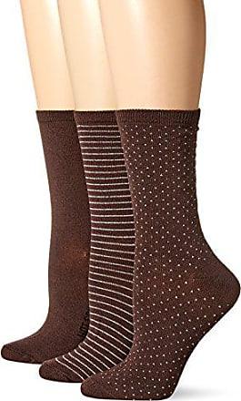 Hot Sox Womens 3 Pack Originals Classics Crew Socks, Dots & Stripes (Dark Brown), Shoe Size: 4-10