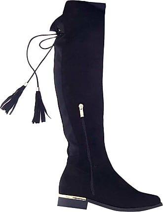 Ikrush Womens Raven Faux Suede Tie Tassel Knee High Boots Size in BLACK Size