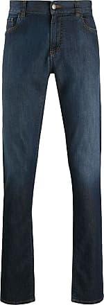 Canali Calça jeans reta cintura alta - Azul