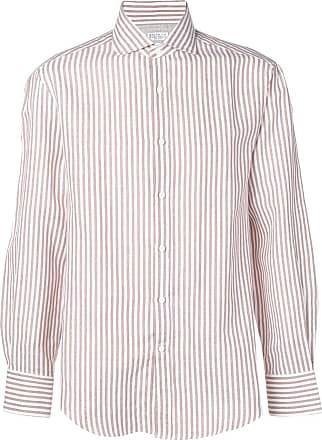 Brunello Cucinelli Camisa listrada - Marrom