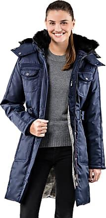 Vincenzo Boretti Womens Winter Coat Parka Stand-up Collar with Detachable Fake Fur Detachable Hood Waist Belt Long-Sleeve Warm Smart Elegant Ladies Women Designer Padd