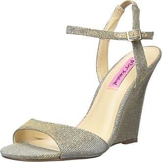 Betsey Johnson Womens Duane Wedge Sandal, Gold, 6.5 M US