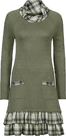 Bonprix Dam Stickad klänning i materialblandning i grön lång ärm - RAINBOW a4fcd25e358e3