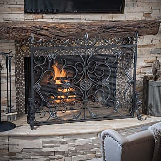 BEST SELLING HOME Laurentia Panel Iron Fireplace Screen Bronze - 295450