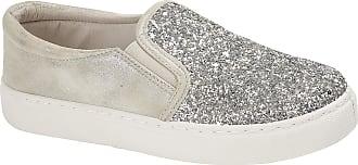 Lora Dora Womens Glitter Canvas Pumps Silver UK 3