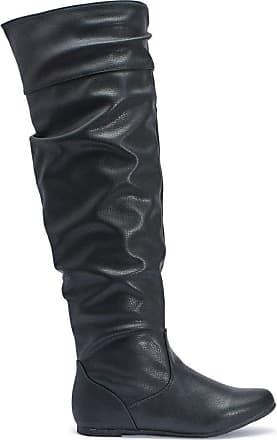 Truffle New Black Pu Faux Leather Huo1 Ladies Vegan Knee Boots[Ladies UK 5 / EU 38]