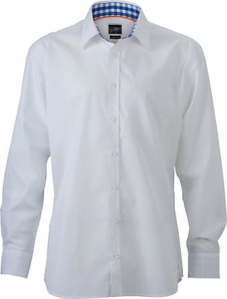 James & Nicholson JN619 Mens Plain Shirt/Blouse White/Royal White Size 3XL