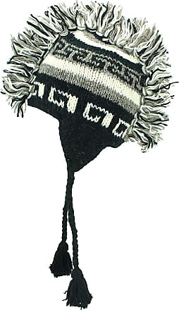 Loud Elephant Grey, White and Black Wool Ear Flap hat with Mohawk and Fleece Lining (Adult)