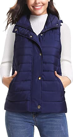 iClosam Womens Sleeveless Coat Stand Collar Lightweight Vest Gilet Puffer Zip Quilted Jacket Dark Blue