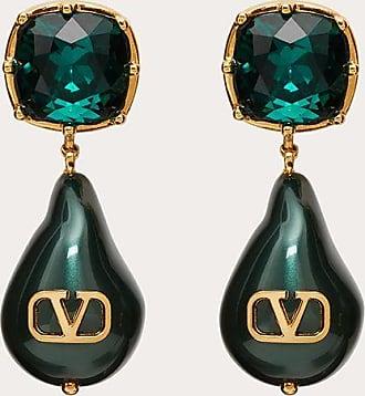 Valentino Garavani Valentino Garavani Vlogo Signature Earrings With Pearls And Crystals Women Gold/emerald Brass 100% OneSize