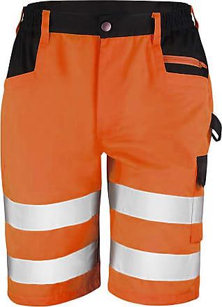 Result Core Mens Reflective Safety Cargo Shorts (L) (Orange)