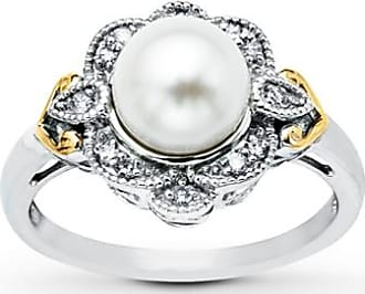 Kay Jewelers Cultured Pearl Ring Diamond Accents Sterling Silver/10K Gold