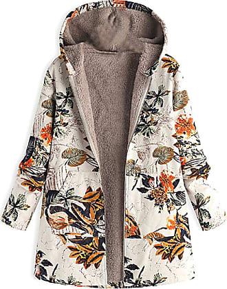Inlefen Womens Winter Long Sleeve Printing Coat Retro Warm with Pocket Zipper Hooded Jacket Orange 5XL