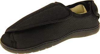 Footwear Studio Mens Womens Black Mesh Adjustable Velcro Orthopaedic Slippers, Black Mesh (Closed Toe - Faux Fur Lined), 11/12 UK