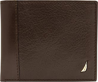 Nautica mens31NU22X026Milled Leather Passcase Wallet Wallet - Brown - One Size