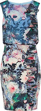 Badgley Mischka Badgley Mischka Woman Ruffled Floral-print Chiffon And Cady Dress Multicolor Size 6