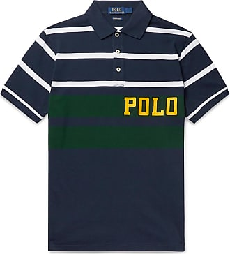 Polo Ralph Lauren Logo-print Striped Cotton-piqué Polo Shirt - Navy