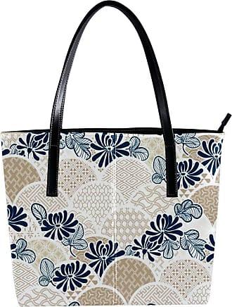 Nananma Womens Bag Shoulder Tote handbag with Traditional Chrisantemum Flower Kimono Pattern Print Zipper Purse PU Leather Top-handle Zip Bags
