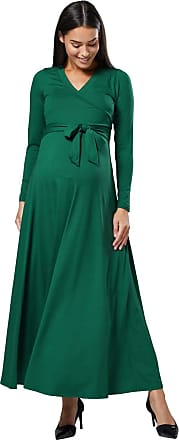 Happy Mama Womens Maternity Nursing Maxi Dress 3/4 Sleeves Double Layered 608p (Green, UK 10, M)