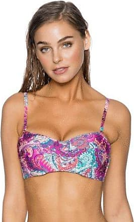 Sunsets Womens Iconic Twist Bra Sized Bandeau Tankini Top Swimsuit, Paisley Peacock, 32DD