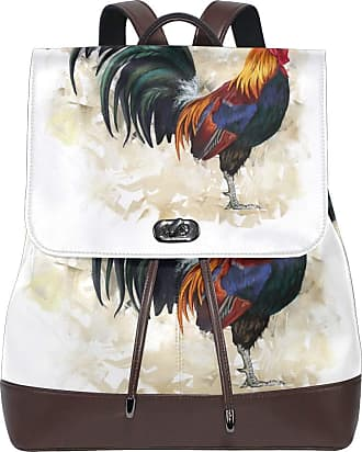 Ahomy Women Leather Backpack Painting Rooster Cock Waterproof Anti-theft Fashion School Backpack Casual Daypacks