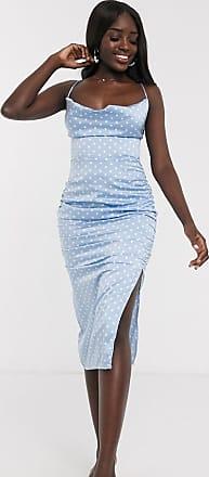 In The Style x Laura Jade satin cowl neck midi dress in blue polka