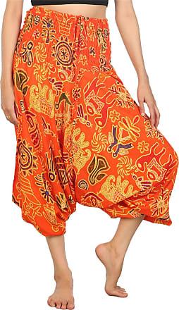 Lofbaz Womens Elephant Harem Trousers Smocked Waist Jumpsuit Orange 3XL