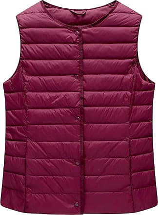 ICEGREY Womens Collarless Lightweight Gilet Quilted Zip Vest Wine Red 12