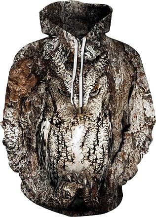 Ocean Plus Mens Hoodie 3D Hoodie Wolf Lion Print Hoodie Diverse Sweatshirt Fantasy Pullover (XXL/3XL (Chest: 49-57 inches), owl)
