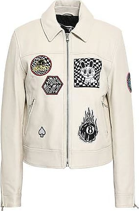 McQ by Alexander McQueen Mcq Alexander Mcqueen Woman Lace-up Appliquéd Textured-leather Jacket Cream Size 36