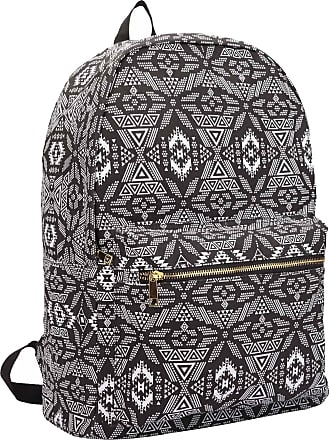 Quenchy London Ladies Backpack, Girls Casual Daypack Bag for School, Work or Hand Luggage Travel 20 Litre Size 39cm x32 x16 QL7164K (Black Geometric)