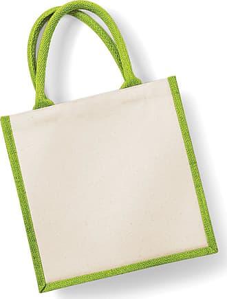 Westford Mill W421=Westford Mill Printers Midi Jute Bag Colour=Apple Green Size=O/S