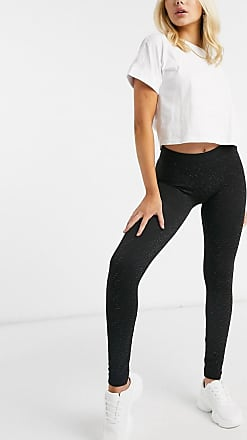 Qed London Leggings con glitter arcobaleno-Nero