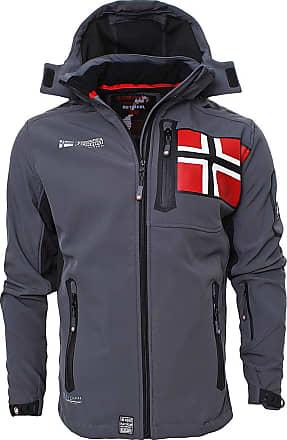 Geographical Norway Mens Softshell Jacket Outdoor Rain Jacket Sports Functional Jacket Leisure Jacket - Grey - XXL