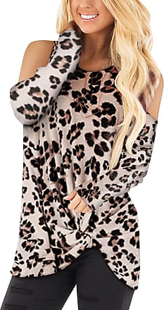Yoins Women Long Sleeve Crossed Front Design T-Shirts Cold Shoulder Round Neck Casual Loose Blouses Tops Leopard UK 4