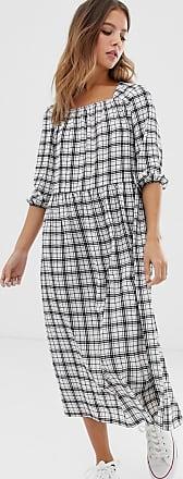 Nobody's Child Aangerimpelde lange jurk met vierkante halslijn en ruiten-Wit