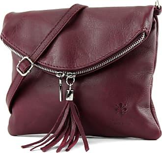 modamoda.de Ital. Leather Clutch Shoulder Bag Underarm Shoulder Bag Girl Small Nappa Leather T139, Colour:T139 Bordeaux
