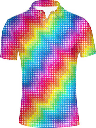 Hugs Idea Rainbow Color Fashion Mens Regular Fit Jersery Sportr Shirt Summer Basic Collar Short Sleeves T-Shirt