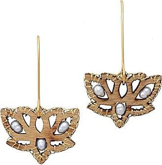 Tinna Jewelry Brinco Dourado Flor De Liz Em Madeira Caseada