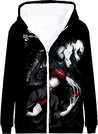 Haililais Death Note Pullover Coat Long Sleeve Printed Hooded Outerwear with Zipper Anime Popular 3D Parent-Child wear Unisex (Color : A02, Size : 140)