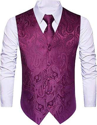 Hisdern Hisdern Mens Paisley Wedding Party Waistcoat Necktie Pocket Square Handkerchief Jacquard Vest Suit Set, Purple, 3XL(Chest size 54 inch)