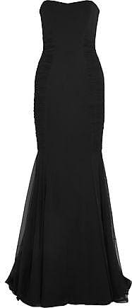 Badgley Mischka Badgley Mischka Woman Strapless Tulle-trimmed Crepe Gown Black Size 2
