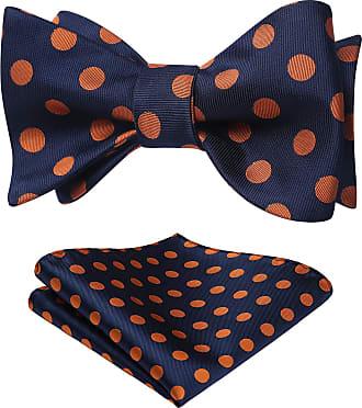 Hisdern Mens Polka Dot Jacquard Self Bow Tie Set One Size Navy Blue/Orange