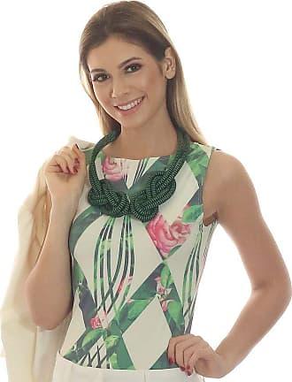 FicaLinda Regata Feminina Estampa Geométrica Exclusiva Verde com Flores Decote Canoa