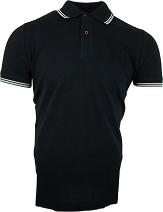 Cerruti 1881 Mens Cotton Polo Shirt with Short Sleeves and Border - Black - X-Large