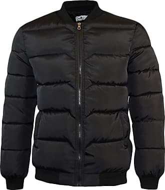 Yonglan Mens Padded Down Jacket Winter Baseball Collar Warm Puffer Coat Black M