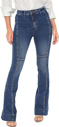 Enna Calça Jeans Enna Flare Recortes Azul