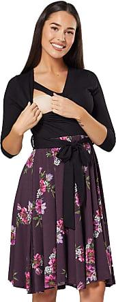 Happy Mama Womens Maternity Skater Dress 3/4 Sleeves 525p (Black with Purple Flowers, UK 16/18, 2XL)