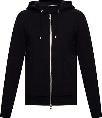 Balmain Logo-embroidered Hoodie Mens Black